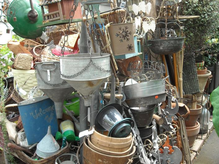 funnels,lamps,buckets,vintage treasures