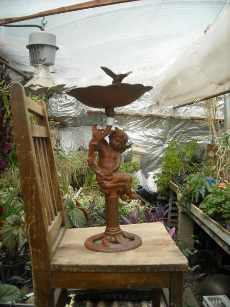cupid vintage iron bird bath